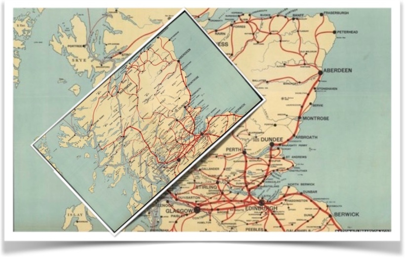A scaled map of Scotland has been rotated and randomly placed over a larger original.  Brouwer tells us that one point on the top map will be precisely on top of the same point on the bottom map.