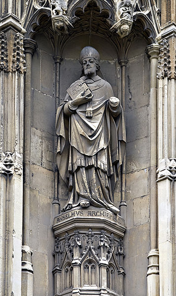 St. Anselm in carbonite on the exterior of Canterbury Cathedral.
