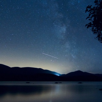Milky Way and ISS over loch Morlich